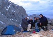 Dinner at Upper Crabtree Lake, Mt. Whitney